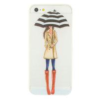 Regen paraplu meisje TPU hoesje iPhone 5 5s SE - Rode Laarsjes Trenchcoat - Doorzichtig
