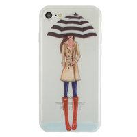 Regen paraplu meisje TPU hoesje iPhone 7 8 - Rode Laarsjes Trenchcoat - Doorzichtig