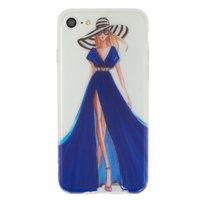 Meisje jurk elegant iPhone 7 8 TPU hoesje - Blauw Strepen - Doorzichtig