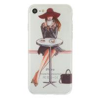 Koffie meisje TPU hoesje iPhone 7 8 - Doorzichtig