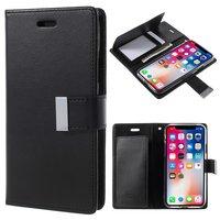 Mercury Wallet lederen portemonnee TPU case iPhone X - Bookcase Zwart