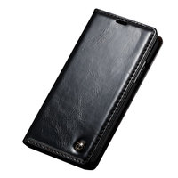 Caseme Oil Wallet lederen case iPhone X - Bookcase Zwart