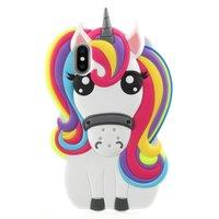 Rainbow Unicorn silicone case iPhone X XS hoesje - Eenhoorn Regenboog