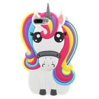 Rainbow Unicorn silicone case iPhone 7 Plus 8 Plus hoesje - Eenhoorn Regenboog