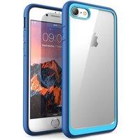 Transparante iPhone 7 8 SE 2020 Hybride TPU kunststof hoesje - Blauw schokabsorberend krasbestendig
