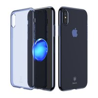 Baseus Simple Series doorzichtig iPhone X XS hoesje - Blauw