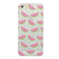 TPU watermeloen hoesje iPhone 5/5s en SE Doorzichtige fruit cover groen roze