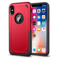 Shockproof Pro Armor iPhone X XS hoesje - Protection Case Rood Red - Extra Bescherming