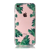 Transparante TPU case bladeren iPhone 7 8 SE 2020 hoesje Palm Jungle - Groen Doorzichtig