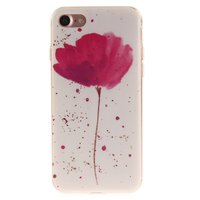 Klaproos TPU hoesje iPhone 7 8 SE 2020 - Wit Roze