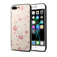 Klassiek bloemen hoesje iPhone 7 Plus 8 Plus - Pastel roze