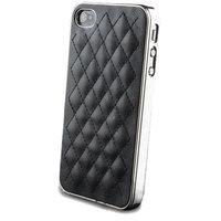 Luxe iPhone 4 4s lederen hoesje leer case hardcase leder - Zwart