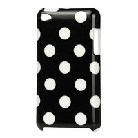 iPod Touch 4 hoesje Polkadot patroon stippen hoes case cover - Zwart