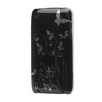 iPhone 3 3G 3GS hardcase sierlijke bloem leuke opdruk - Zwart