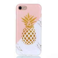 Gold Ananas Marmer Case iPhone 7 8 SE 2020 hoesje - Roze Wit Goud