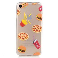 Fastfood hoesje pizza patat iPhone 7 8 SE 2020 - Transparant