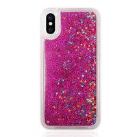 Bewegende glitters hoesje iPhone X XS - Doorzichtig Roze