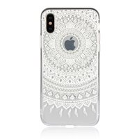 Doorzichtig Mandala iPhone X XS hybride TPU hardcase hoesje - Wit