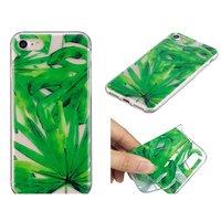 Tropische bladeren cover TPU hoesje iPhone 7 8 - Doorzichtig Groen
