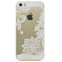 Transparant case bloemen patroon TPU hoesje iPhone 5 5s SE - Wit