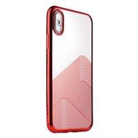Sulada Doorzichtig iPhone X XS TPU hoesje - Rood Metallic
