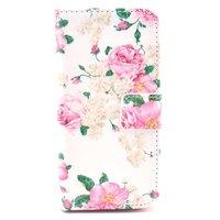 Klassiek rozenstruik kunstlederen iPhone 5 5s SE Wallet Bookcase hoesje - Roze