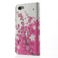 Bloesem Bijen iPhone 5 5s SE kunstlederen Wallet Bookcase hoesje - Roze Wit