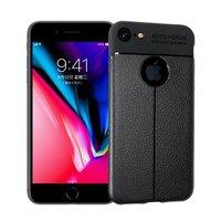 Litchi Grain lederen iPhone 7 8 TPU hoesje - Zwart