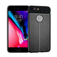 Litchi Grain lederen iPhone 7 Plus 8 Plus TPU hoesje - Zwart