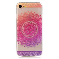 Transparante Mandala iPhone 7 8 TPU hoesje - Roze Paars