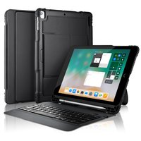 Bluetooth QWERTY Keyboard cover Universele Lederen iPad case - Afneembaar Toetsenbord Zwart