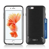 Brushed iPhone 6 Plus 6s Plus TPU kunststof hybride case pasjes slider - Zwart Standaard