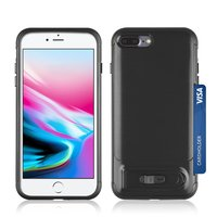 Brushed iPhone 7 Plus 8 Plus TPU kunststof hybride case pasjes slider - Zwart Standaard