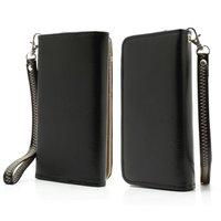 Universele wallet smartphone hoes portemonnee polsbandje bookcase - Zwart