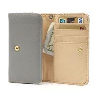 Universele wallet smartphone hoes portemonnee lederen bookcase - Grijs