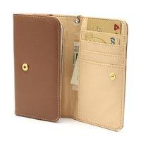 Universele wallet smartphone hoes portemonnee lederen bookcase - Bruin