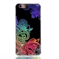 Shockproof iPhone 6 6s TPU Bloemen hoesje - Holografisch Zwart
