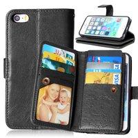 Grote Wallet Pasjeshouder lederen hoesje iPhone 5 5s SE - Zwart - 9 Pasjes