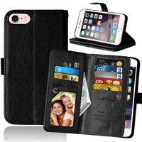 Grote Wallet Pasjeshouder lederen hoesje iPhone 7 8 - Zwart - 9 Pasjes