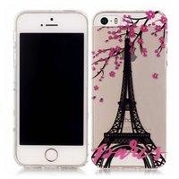 Parijs Eiffeltoren bloesem hoesje TPU case iPhone 5 5s SE - Transparant Roze Zwart