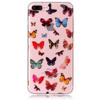 Vlinders TPU hoesje transparant case iPhone 7 Plus 8 Plus - Kleurrijk