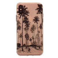 Tinystories geillustreerde palmbomen hoesje iPhone X - Roze Palm Case