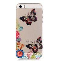 Doorzichtig Vlinder Bloemen TPU iPhone 5 5s SE hoesje - Kleurrijk