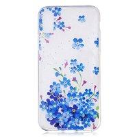 Doorzichtige Bloemenstruik iPhone X XS TPU hoesje - Blauw