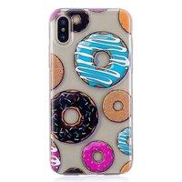 Donut hoesje gebak TPU case iPhone X XS - Kleurrijk Transparant