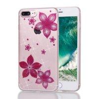 Glitter bloem hoesje TPU iPhone 7 Plus 8 Plus - Transparant Roze