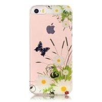 Doorzichtig Vlinder Madeliefjes iPhone 5 5s SE TPU hoesje - Wit Groen