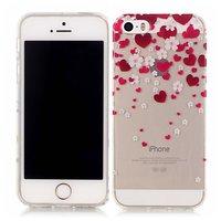 Hartjes liefde bloemetjes hoesje TPU iPhone 5 5s SE - Transparant Rood Roze