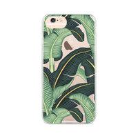 FLAVR iPlate bananenbladeren case tropisch hoesje iPhone 6 6s 7 8 - Transparant Groen