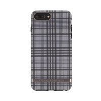 Richmond & Finch Checked Black Details Case iPhone 6 Plus 6s Plus 7 Plus 8 Plus hoesje - Zwart Grijs